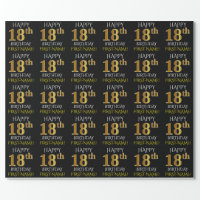 "Black, Faux Gold ""HAPPY 18th BIRTHDAY"" Wrapping Paper"