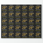 """[ Thumbnail: Black, Faux Gold """"Happy 20th Birthday"""" Wrapping Paper ]"""