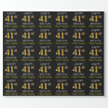 """[ Thumbnail: Black, Faux Gold """"Happy 41st Birthday"""" Wrapping Paper ]"""
