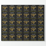 """[ Thumbnail: Black, Faux Gold """"Happy 70th Birthday"""" Wrapping Paper ]"""