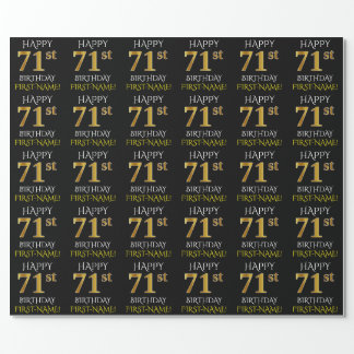 "Black, Faux Gold ""HAPPY 71st BIRTHDAY"" Wrapping Paper"