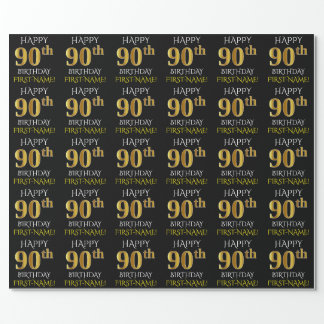 Black Faux Gold HAPPY 90th BIRTHDAY Wrapping Paper