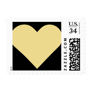 Black Faux Gold Heart Valentines Day Wedding Stamp
