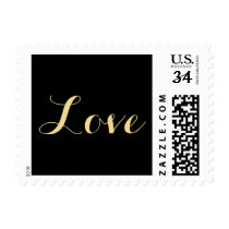 Black Faux Gold Love Valentines Day Wedding Stamp