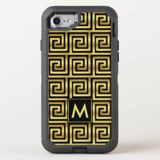 Black Faux Gold Monogram Classy Upscale Greek Key OtterBox Defender iPhone 8/7 Case