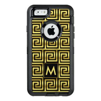Black Faux Gold Monogram Classy Upscale Greek Key OtterBox Defender iPhone Case