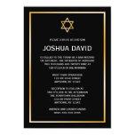 Black Faux Gold Star of David Bar Mitzvah 5x7 Paper Invitation Card