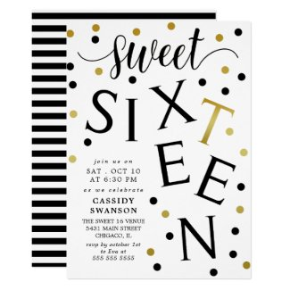 Black & Faux Gold Typography Sweet Sixteen Invitation