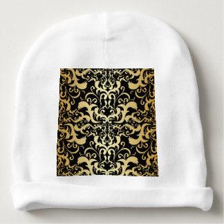black,faux gold,vintage,antique,damasks,pattern,ch baby beanie