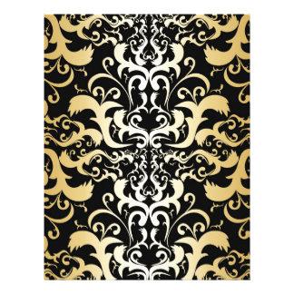 black,faux gold,vintage,antique,damasks,pattern,ch letterhead