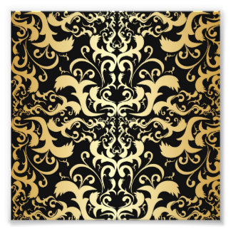 black,faux gold,vintage,antique,damasks,pattern,ch photo print