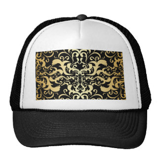black,faux gold,vintage,antique,damasks,pattern,ch trucker hat