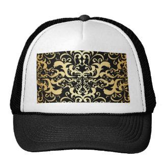 black,faux gold,vintage,antique,damasks,pattern,ch trucker hat
