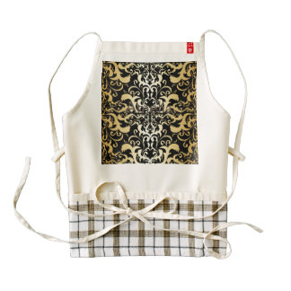 black,faux gold,vintage,antique,damasks,pattern,ch zazzle HEART apron