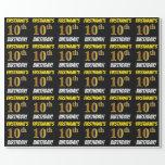 "[ Thumbnail: Black, Faux/Imitation Gold, ""10th Birthday"" Wrapping Paper ]"