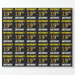 "[ Thumbnail: Black, Faux/Imitation Gold, ""19th Birthday"" Wrapping Paper ]"