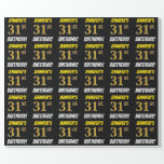 """[ Thumbnail: Black, Faux/Imitation Gold, """"31st Birthday"""" Wrapping Paper ]"""