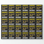 """[ Thumbnail: Black, Faux/Imitation Gold, """"32nd Birthday"""" Wrapping Paper ]"""