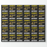 """[ Thumbnail: Black, Faux/Imitation Gold, """"42nd Birthday"""" Wrapping Paper ]"""