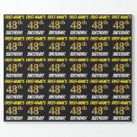 "[ Thumbnail: Black, Faux/Imitation Gold, ""48th Birthday"" Wrapping Paper ]"