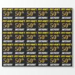 "[ Thumbnail: Black, Faux/Imitation Gold, ""50th Birthday"" Wrapping Paper ]"