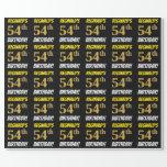 "[ Thumbnail: Black, Faux/Imitation Gold, ""54th Birthday"" Wrapping Paper ]"