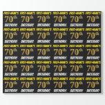 "[ Thumbnail: Black, Faux/Imitation Gold, ""70th Birthday"" Wrapping Paper ]"