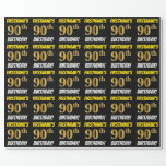 "[ Thumbnail: Black, Faux/Imitation Gold, ""90th Birthday"" Wrapping Paper ]"