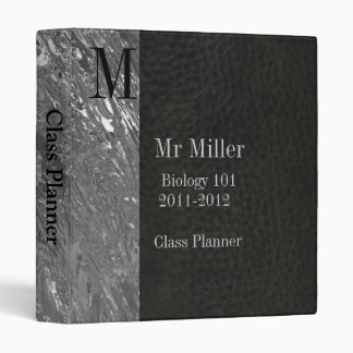 Black Faux Leather & Chrome Teachers Binder