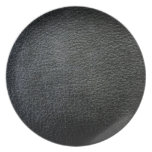 Black Faux Leather Designer Plate