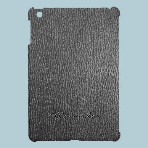 Black Faux Leather Look Monogram iPad Mini Cases