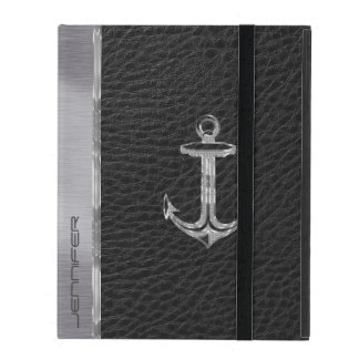 Black Faux Leather Look, Silver Anchor Customize iPad Case