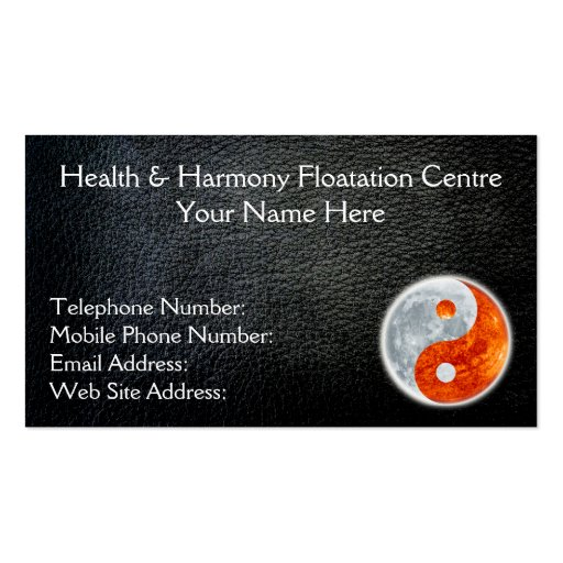 Black Faux Leather Yin Yang Health Business Cards
