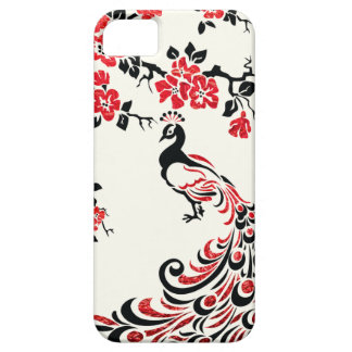 Black, faux red foil peacock & cherry blossoms iPhone SE/5/5s case