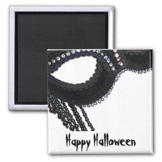 Black Faux Rhinestone Mask Halloween Invitation 2 Inch Square Magnet