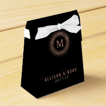 Black & Faux Rose Gold Deco Monogram Favor Box