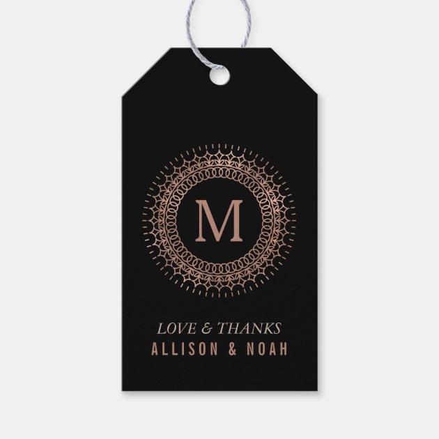 Black Faux Rose Gold Deco Monogram Wedding Favor Gift Tags