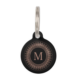 Black & Faux Rose Gold Initial Monogram Pet ID Tag