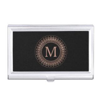 Black & Faux Rose Gold Medallion Initial Monogram Business Card Holder