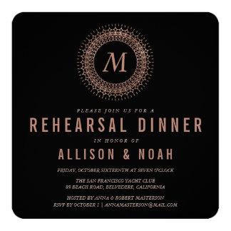 Black & Faux Rose Gold Monogram Rehearsal Dinner Card