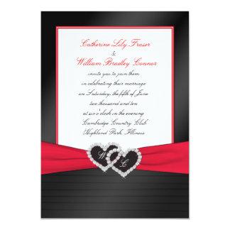 """Black FAUX Satin Pleats, Hearts Monogram Invite 5"""" X 7"""" Invitation Card"""