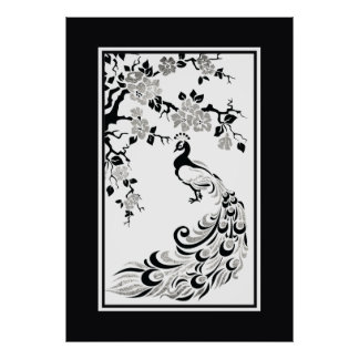 Black faux silver foil peacock and cherry blossoms poster