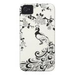 Black, faux silver foil peacock & cherry blossoms iPhone 4 Case-Mate cases