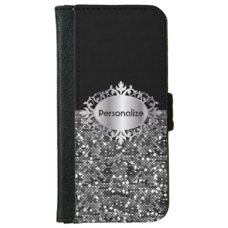 Black & Faux Silver Glitter Confetti | Personalize iPhone 6/6s Wallet Case