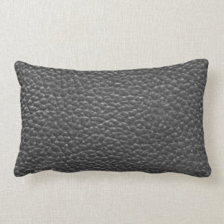 Black Faux Worn Leather Lumbar Pillow