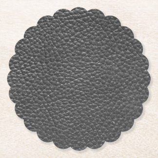 Black Faux Worn Leather Paper Coaster