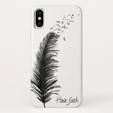 black feather with flying birds iPhone x case