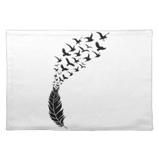 Black feather with flying birds placemat