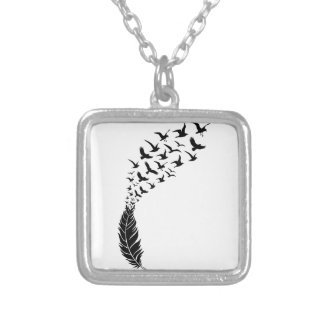 Black feather with flying birds square pendant necklace