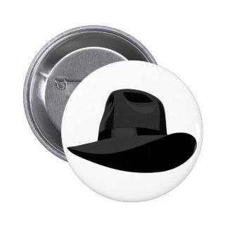 Black Fedora narrow ribbon Pinback Button